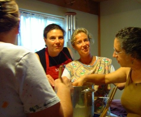 Making soap under Nancy's watchful eye.  Who says too many cooks spoil the soap??