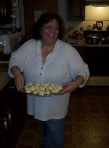 Carol with a tray of Gramma's cookies....