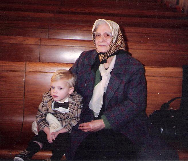 My grandmother with my son, Patrick (1989)