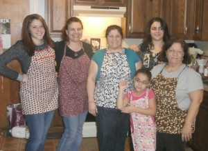 "My cousin, Cindy, was in Michigan but made sure we were outfitted in her ""Cindy's Whimsies"" aprons. (cindyswhimsies.com)"