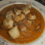 Focaccia croutons!!! (on squash soup....coming soon!)