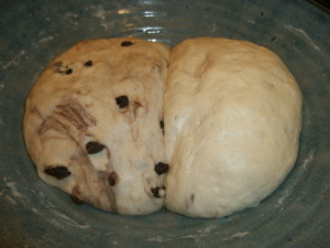 Divided dough, half cinnamon raisin and half plain; same bowl...who wants to do extra dishes?