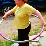 While the bread is rising what else is there for Nancy to do but hoola hoop on the patio???  :)