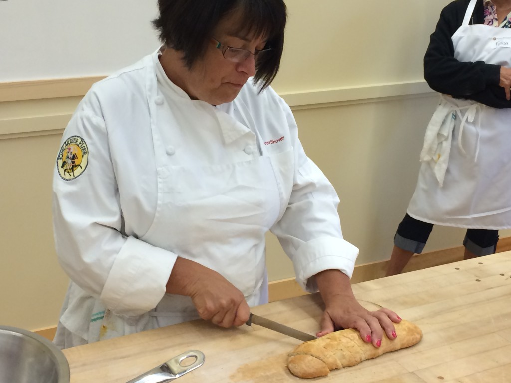 Another great demo on cutting the once cooked biscotti by Irene!