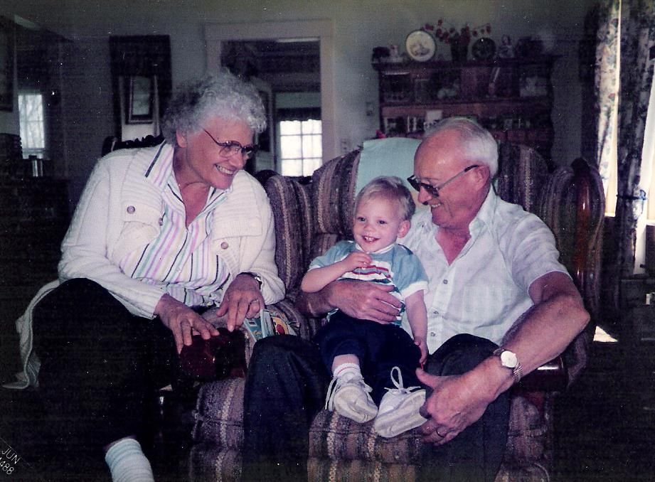My son, Patrick, with doting grandparents!