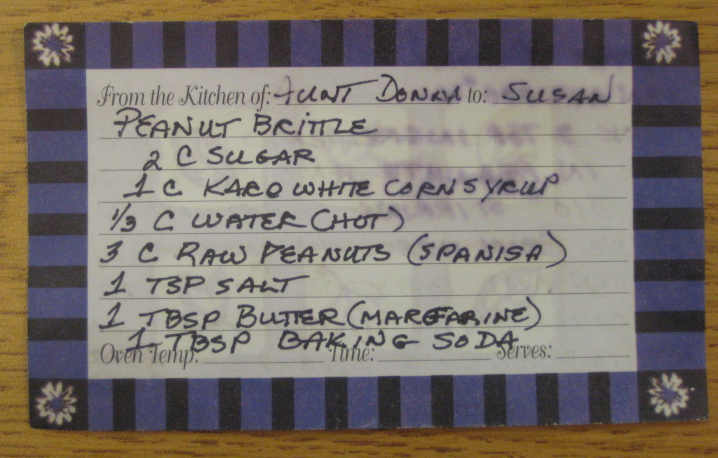 The recipe card Aunt Donna had written out for Susan!