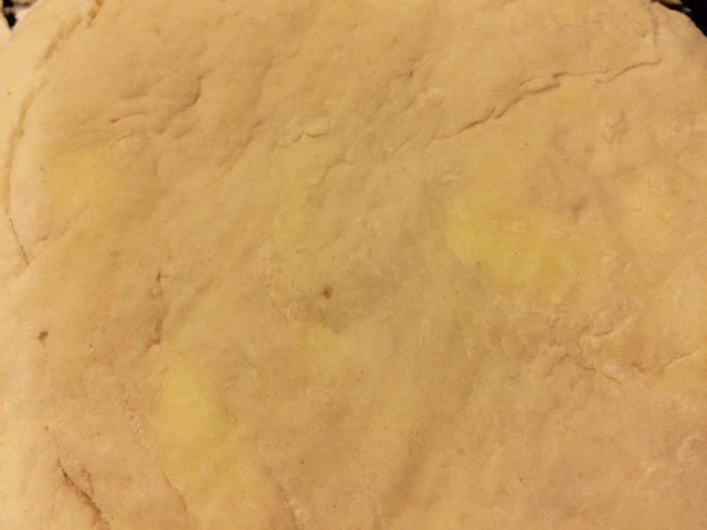 Look closely!  You can still see the butter blobs in the dough.  This is what will make them flaky!