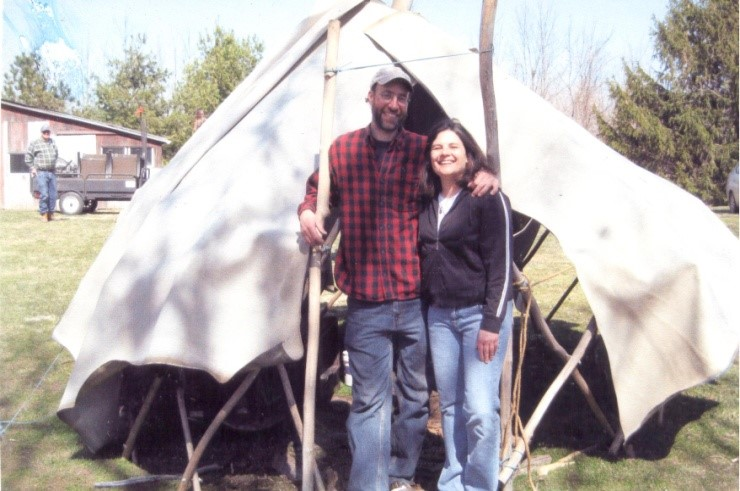 Darrell and I in front of his home-made yurt at our first syrup celebration (8 years ago!)