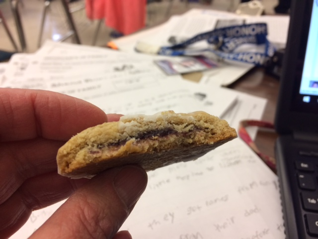 The perk of cookies over cake.  They're portable!  I gobbled down more than a few at my desk while grading papers!