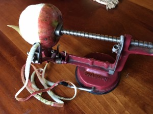 These work great for peeling and slicing.  Notice we used the less than perfect apples off our tree.